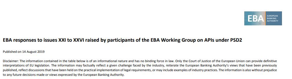 Open Banking: Ważne wskazówki dla banków oraz Third Party Providers w kontekście identyfikacji, czyli piąte wyjaśnienia grupy roboczej ds. API przy EBA