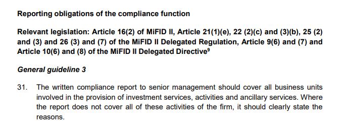 Cześć 2. ESMA projektuje wytyczne w sprawie Compliance (MiFID2): obowiązki raportowe oraz doradztwo dla biznesu