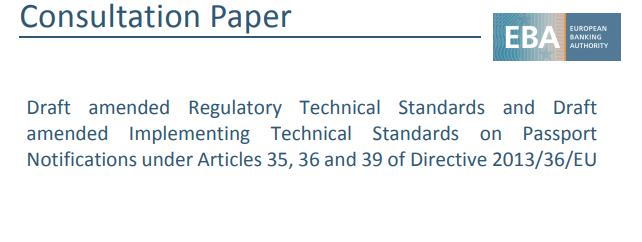 Większa przejrzystość przy paszportowaniu usług finansowych, czyli EBA publikuje projekty RTS'ów w sprawie powiadomień