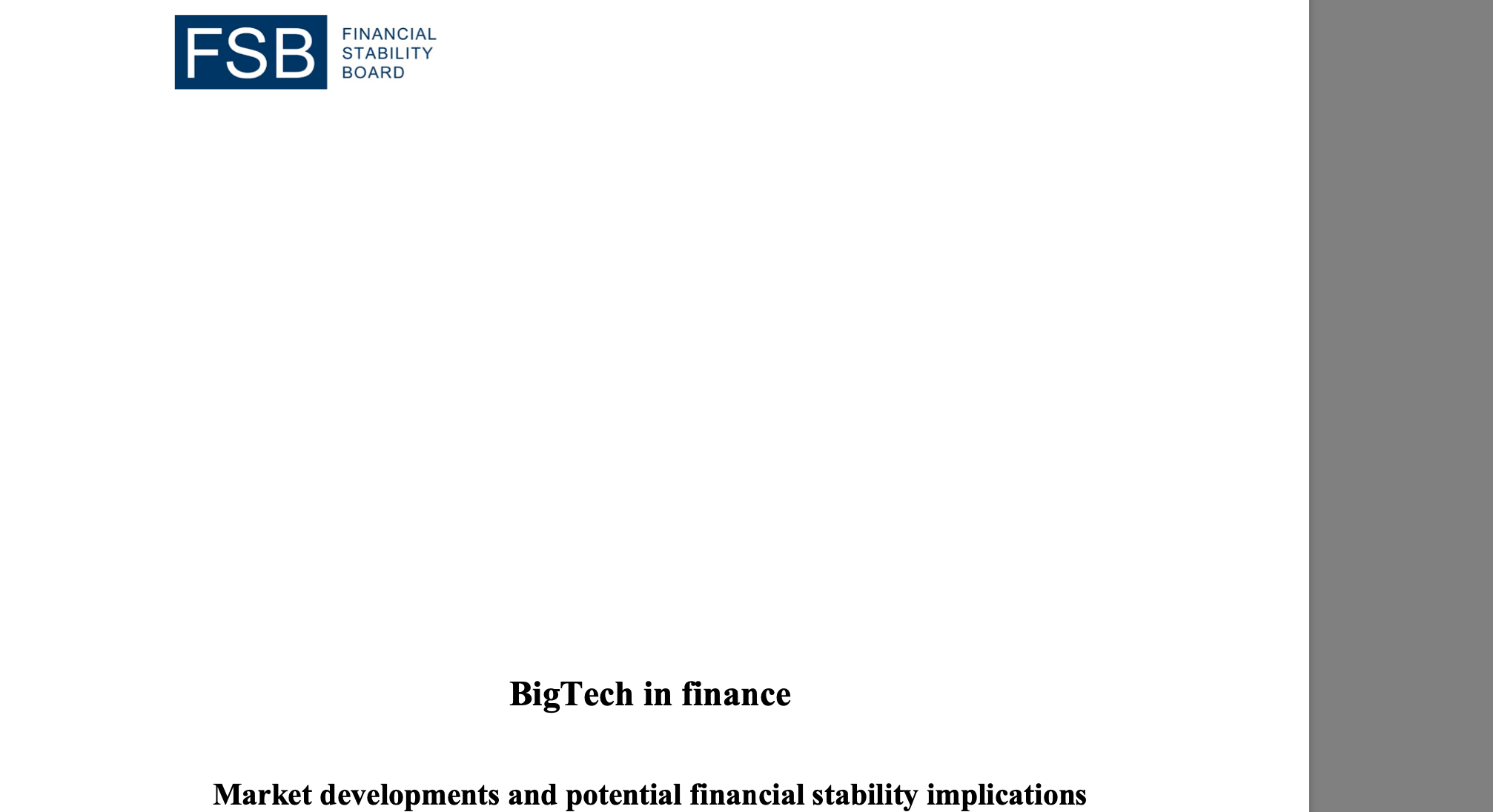 "BigTech nie jest (na razie) zagrożeniem dla rozwiniętych rynków. Tak twierdzi Financial Stability Board w swoim raporcie ""BigTech in finance. Market developments and potential financial stability implications"""