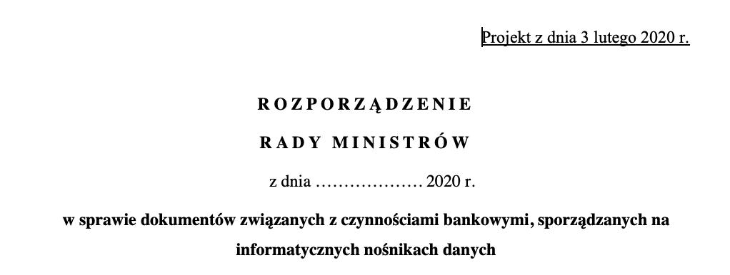 """Nowe zasady """"obchodzenia"""" się z elektronicznymi dokumentami bankowymi, czyli projekt rozporządzenia z art. 7 PrBank"""