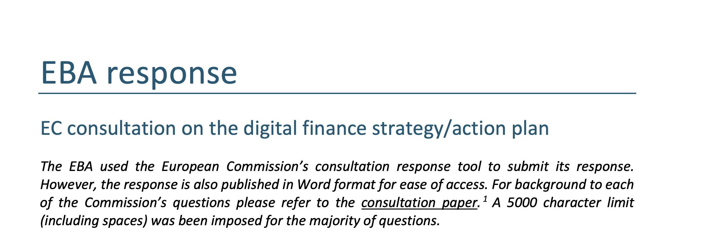 EBA o tym co zamierza zrobić dla Fintechów, RegTech i SupTech, czyli odpowiedź na Digital Finance Strategy