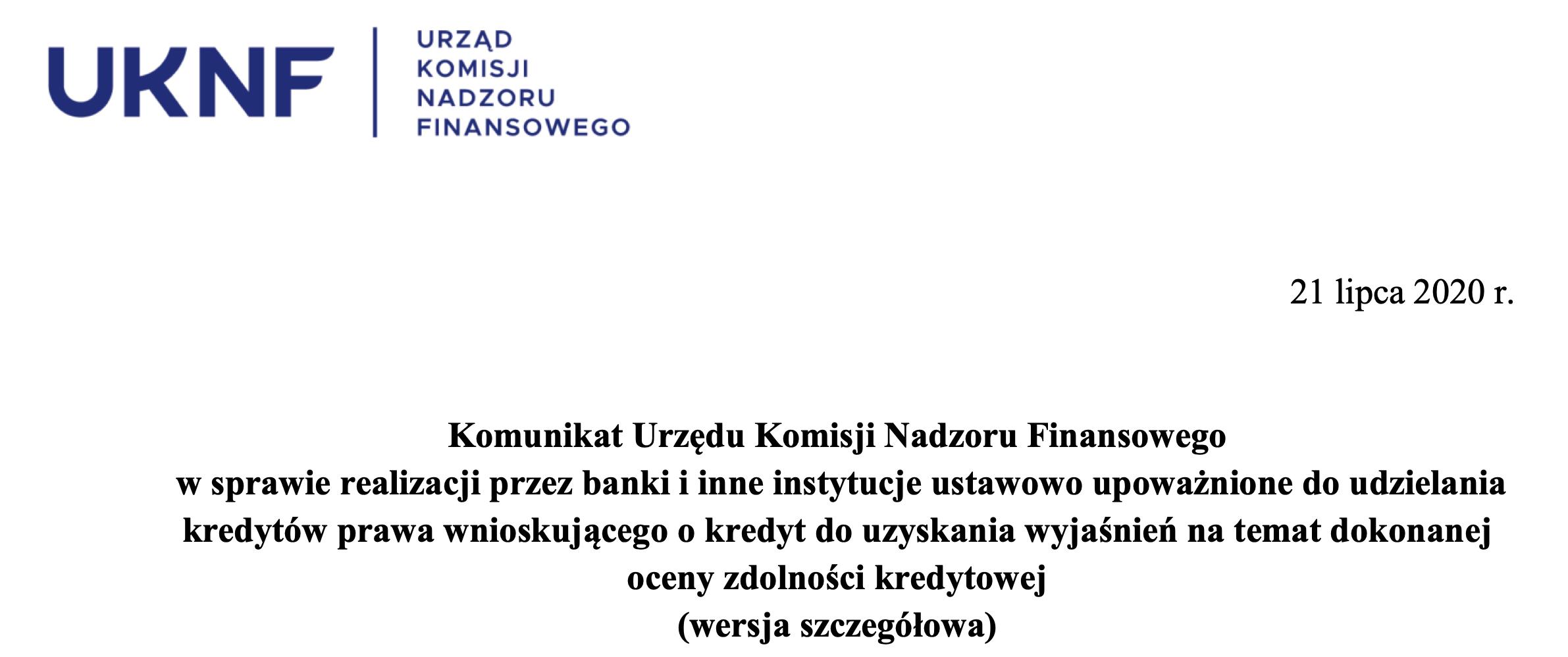 RODO i Prawo bankowe oraz UKNF, czyli komunikat w sprawie zdolności kredytowej
